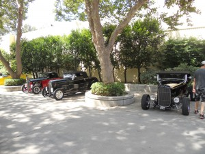 Bill, John and Aaron's roadsters in the shade!